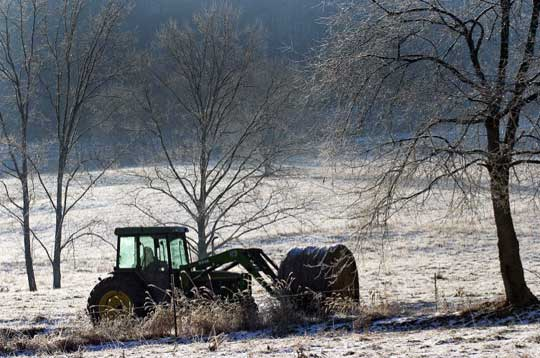 John Mann hauls hay to his cattle on a morning when the temperature hovered at two degrees.