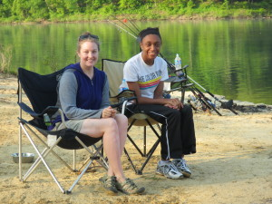 "Big Sister Carrie ""Mudfoot"" Stambaugh and Little Sister Regina at Cave Run Lake. (Photo by Carl Stambaugh)"