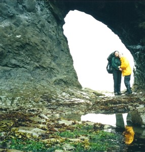 "Carrie ""Mudfoot"" Stambaugh, and her mother Debbie Kirschner pictured here on the Olympic National Park seashore, during their trip in 2001. The mother-daughter duo share a love of adventure and the great outdoors. (Carrie Stambaugh)"