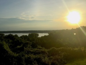The sun sets over the Mississippi River. Columbus-Belmont State Park, located along a set of bluffs high above the river is a good location for viewing the evening ritual. (Carrie Stambaugh)
