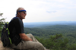 Mudfoot's father, and frequent hiking companion, Randy Kirschner, on top of Pilot Knob. (Carrie Stambaugh)