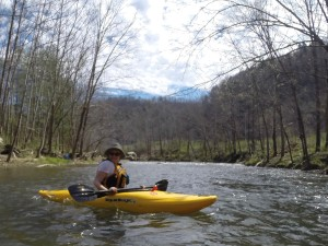 "Carrie ""Mudfoot"" Stambaugh on the Poor Fork of the Cumberland (Photo by Carl Stambaugh)"