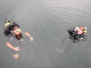 Divers pause at the surface between dives at Greenbo. (Carrie Stambaugh)