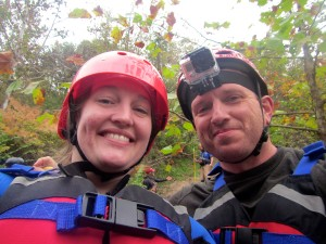"Carrie ""Mudfoot"" Stambaugh and Carl ""The Fireman"" Stambaugh just before embarking on a Russell Fork whitewater trip. (Photo by Carrie Stambaugh)."