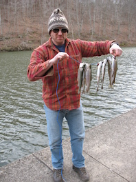 Despite a slow start, Carl quickly caught his limit from the bank. (Carrie Stambaugh)