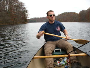 Carl steering the canoe back into the launch. (Carrie Stambaugh)