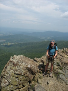 "Carrie ""Mudfoot"" Stambaugh atop the Pinnacles in Shenandoah National Park. (Carl Stambaugh)"