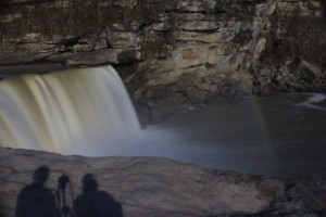 A moonbow often appears at the Cumberland Falls on clear nights when there is a full moon. (Photo by Carrie Stambaugh.)