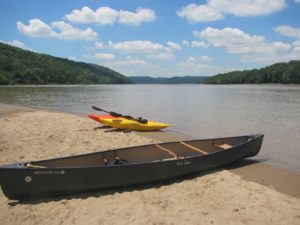 Both small and larger boats are appropriate for a paddle on the Ohio. (Carrie Stambaugh)